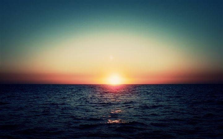 Sea Waves Sunset MacBook Air wallpaper