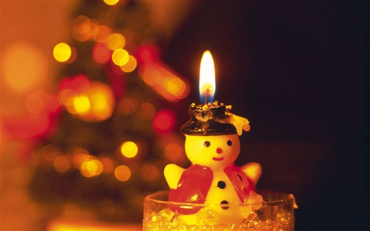 Snowman Candle Light New Year Greeting Cards All Mac wallpaper