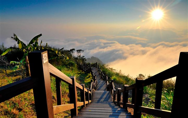 Stairs Clouds Sun Shines Brightly MacBook Air wallpaper