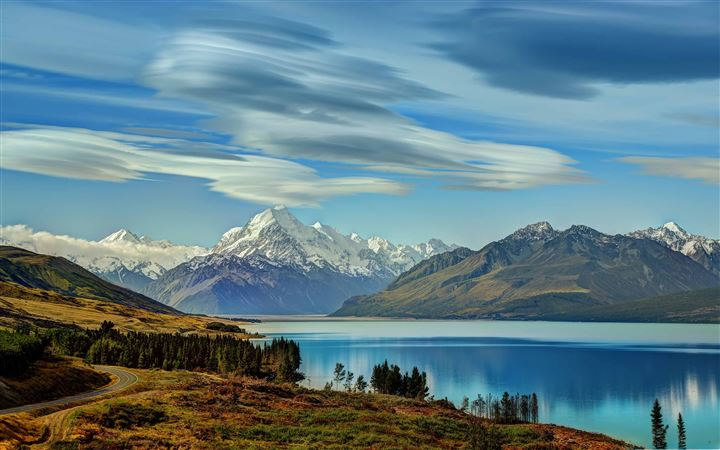 The RoadTo Mount Cook Along Lake All Mac wallpaper