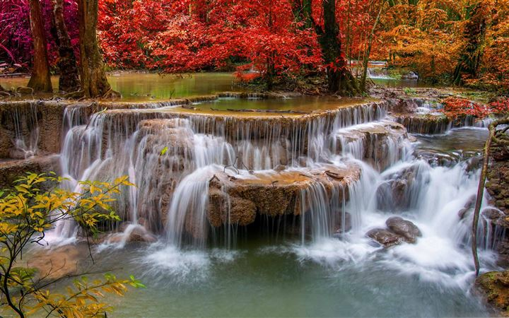 Waterfall Red Trees All Mac wallpaper