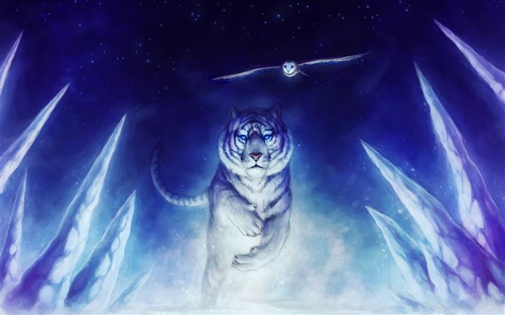 White Tiger Owl Art All Mac wallpaper