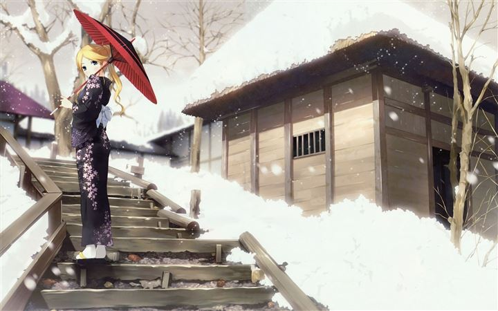 Zetsubou Sensei Winter Anime Umbrellas All Mac wallpaper