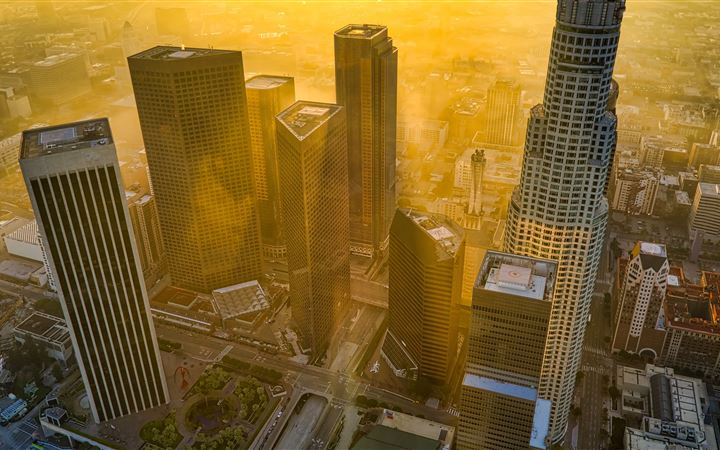 aerial view of city buildings during daytime MacBook Air wallpaper