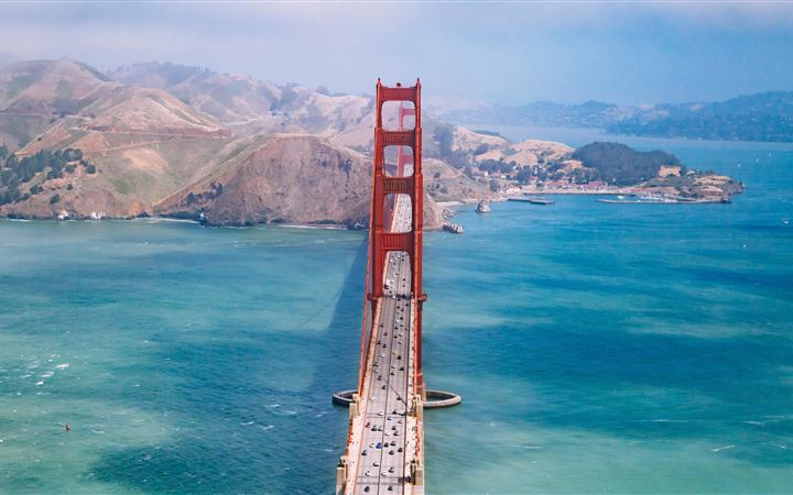 aerial view photography of Golden Gate Bridge duri MacBook Air wallpaper