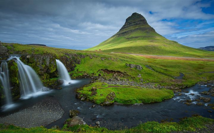 iceland mountains waterfalls kirkjufell 5k MacBook Air wallpaper