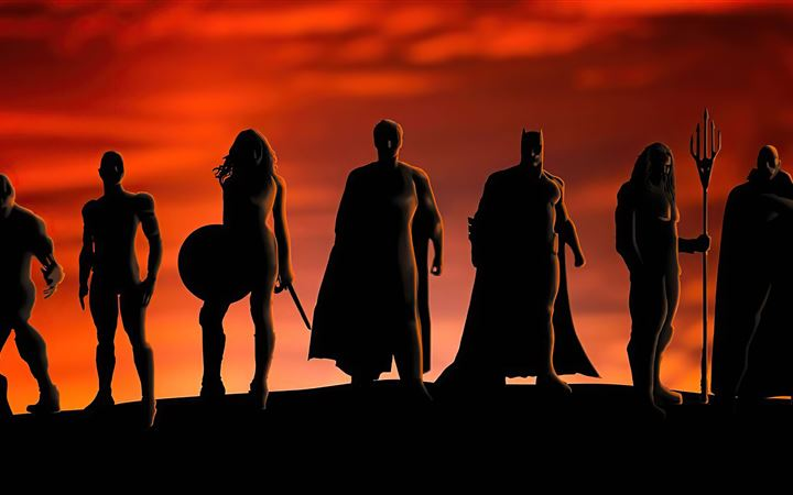 justice league heroes silhouette 5k All Mac wallpaper