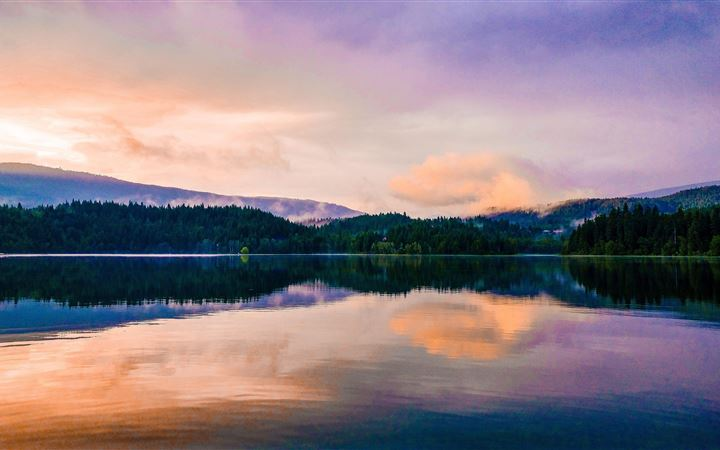 mirror lake reflection sunset scenic 5k MacBook Air wallpaper
