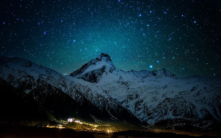 mount cook village under the winter stars 8k MacBook Air wallpaper