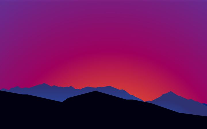 mountain landscape sunset minimalist 15k All Mac wallpaper