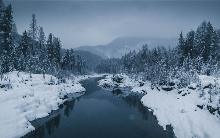 river surrounded by snow ... All Mac wallpaper