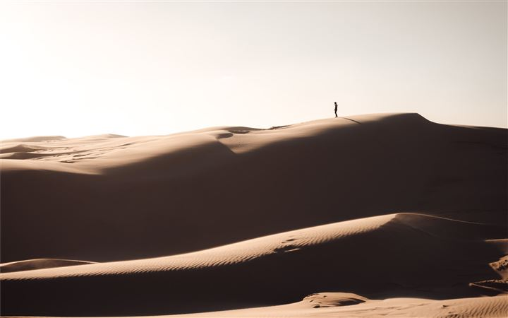 silhouette of person standing on brown sand MacBook Air wallpaper