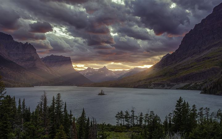 sunset at st mary lake glacier national park 5k All Mac wallpaper