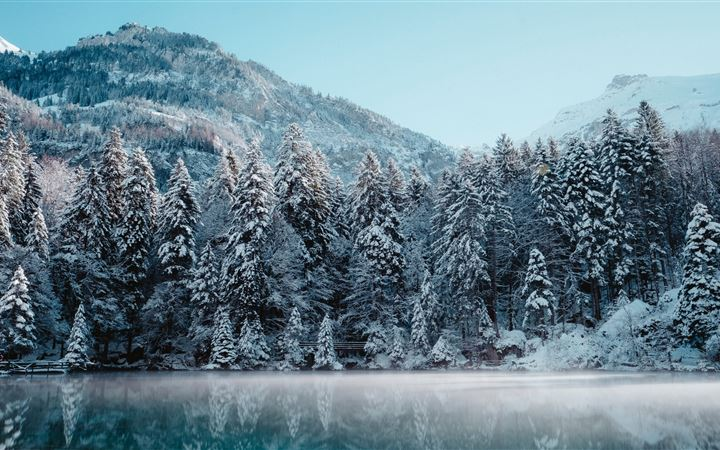 switzerland winter reflection 5k MacBook Air wallpaper