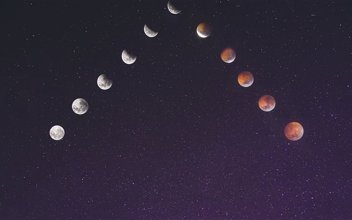 time lapse photography of assorted moon illustrati All Mac wallpaper