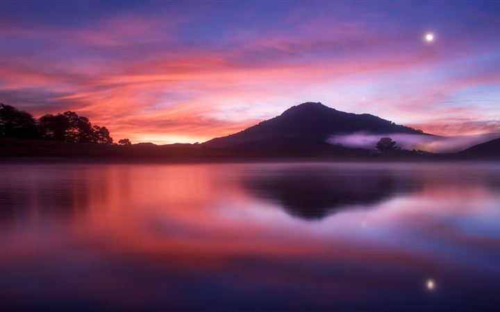 water under blue and red sky All Mac wallpaper