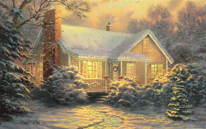 Christmas Cottage By Thomas Kinkade MacBook Pro wallpaper