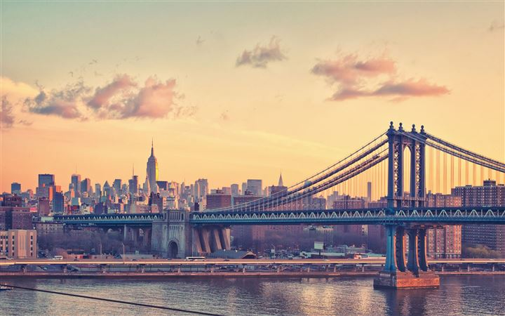 Manhattan Bridge at Dusk New York United States MacBook Pro wallpaper