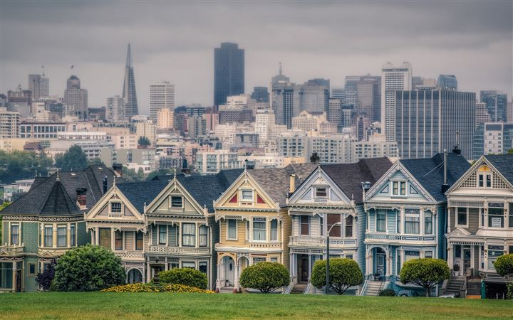 Victorian Houses In Alamo Square San Francisco California USA MacBook Pro wallpaper