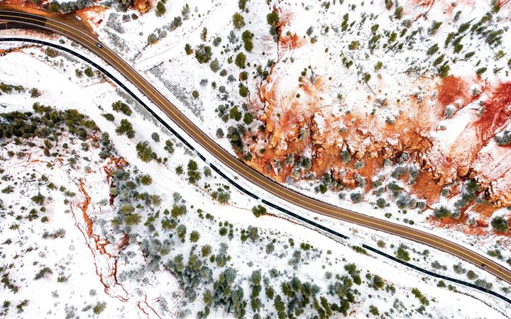aerial photography winter road 5k MacBook Pro wallpaper