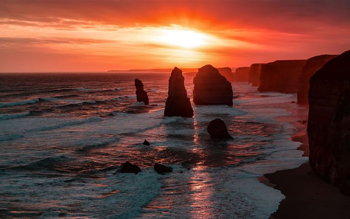 the twelve apostles coastline rock sunset 5k MacBook Pro wallpaper