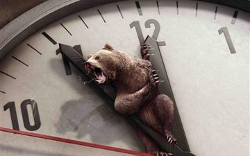 Bear And Clock Mac wallpaper
