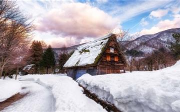 Village In Japan During Winter Mac wallpaper