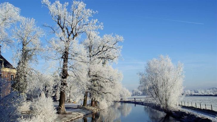 Winter Landscape Utrecht Netherlands Mac Wallpaper