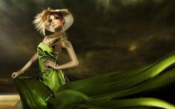 Girl In Green Dress Mac wallpaper