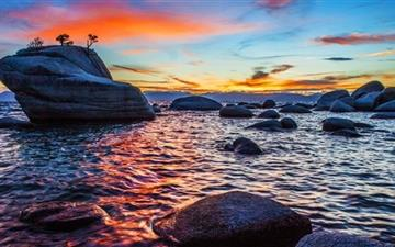 Bonsai Rock Sunset At Lake All Mac wallpaper