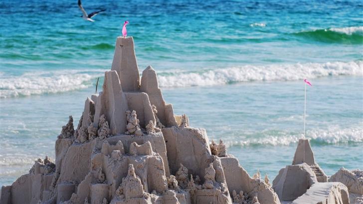 Sandcastles On The Beach Mac Wallpaper
