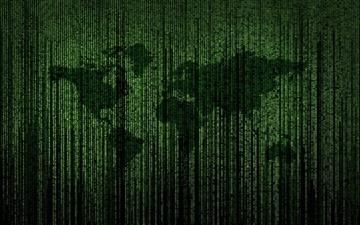 Green Matrix Code World Map Mac wallpaper