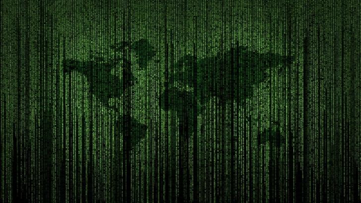 Green Matrix Code World Map Mac Wallpaper
