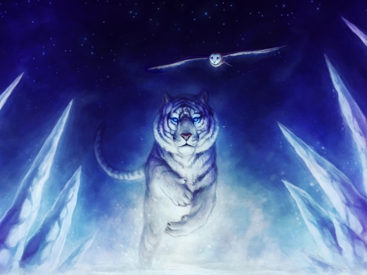 White Tiger Owl Art Mac Wallpaper