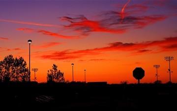 Soccer Field At Sunset Mac wallpaper