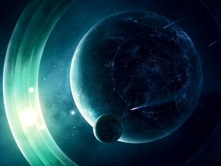 A Planet With Light Gings Mac Wallpaper