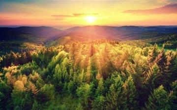 Mountains Woods Sunset Mac wallpaper