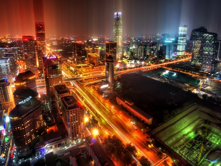 Downtown Beijing After Rain Mac Wallpaper
