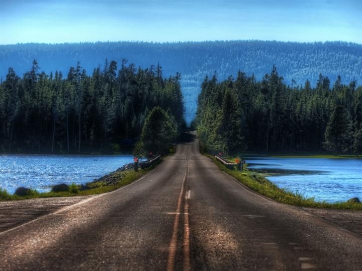 Road in Yellowstone Montana Mac Wallpaper
