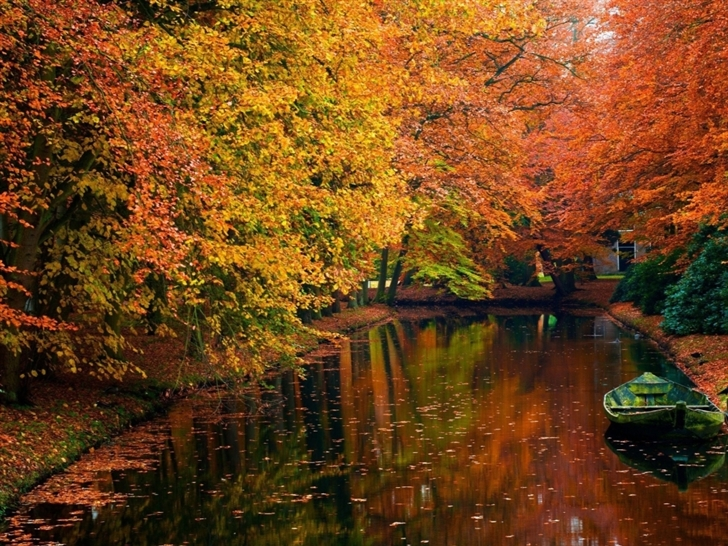Lake in autumn landscape Mac Wallpaper