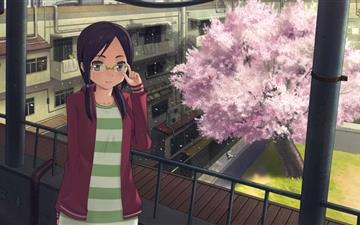 Girl And Cherry Tree Mac wallpaper