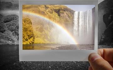 Rainbow Over Skogafoss Waterfall Mac wallpaper