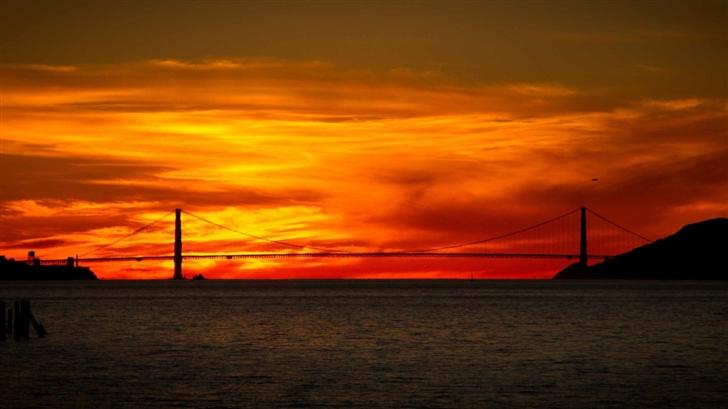Red Sunrise Bridge Mac Wallpaper