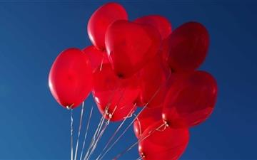 Red heart Balloons In The Sky Mac wallpaper