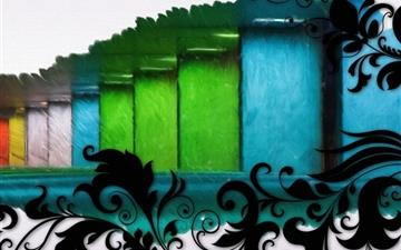 Swirls And Multicolored Bars Mac wallpaper