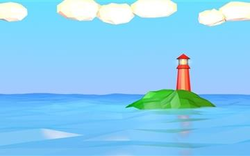 Low Poly Lighthouse Mac wallpaper