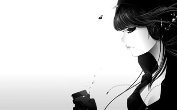 Girl Listening To Music All Mac wallpaper