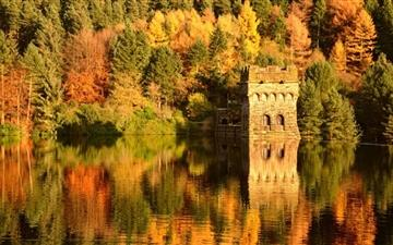Small Lake Fortress Autumn Mac wallpaper