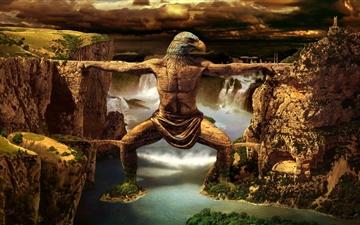 Eagle Man Statue Mac wallpaper
