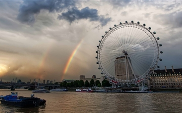 London Eye And Rainbow Mac wallpaper